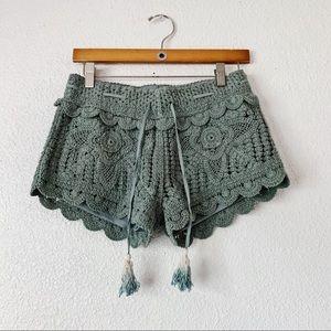 Surf Gypsy Jade Green Crochet Shorts